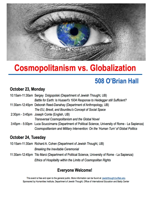 Cosmopolitanism vs Globalization Schedule